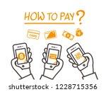 various  payment concept hand... | Shutterstock .eps vector #1228715356