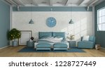 blue master bedroom in a loft... | Shutterstock . vector #1228727449