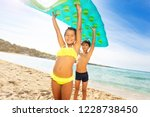 cute kids with air mattress... | Shutterstock . vector #1228738450