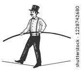 man circus ropewalker engraving ... | Shutterstock .eps vector #1228742680