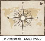 vintage nautical compass. old... | Shutterstock . vector #1228749070