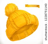 winter clothes. knitted cap  3d ... | Shutterstock .eps vector #1228751140