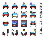 set of cars related  filled... | Shutterstock .eps vector #1228758853