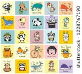 vector set of cards with cute... | Shutterstock .eps vector #1228767190