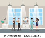 business people in corridor...   Shutterstock .eps vector #1228768153