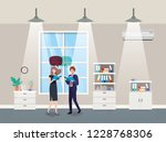 business couple talking in...   Shutterstock .eps vector #1228768306