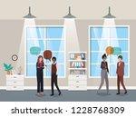 business people talking in...   Shutterstock .eps vector #1228768309