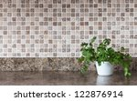 white pot with green herbs on... | Shutterstock . vector #122876914
