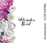 watercolor floral background.... | Shutterstock . vector #1228769986