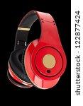 red headphones on the black...   Shutterstock . vector #122877424