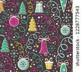 christmas seamless pattern on... | Shutterstock .eps vector #1228777543