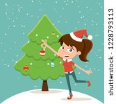 merry christmas  girl in a red... | Shutterstock .eps vector #1228793113