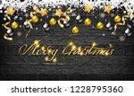 christmas balls with gold stars ...   Shutterstock .eps vector #1228795360