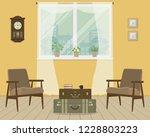 yellow living room in retro... | Shutterstock .eps vector #1228803223