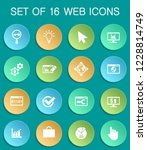 seo web icons on colorful round ...