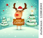 merry christmas  the red nosed... | Shutterstock .eps vector #1228818343