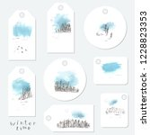 hand drawn winter landscape tag ... | Shutterstock .eps vector #1228823353