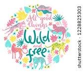 vector poster with jaguars ... | Shutterstock .eps vector #1228825303