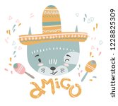 cute mexican baby cat. hand... | Shutterstock .eps vector #1228825309