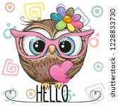 Stock vector cute cartoon owl in a pink glasses with heart 1228833730