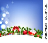 poster with bokeh and xmas... | Shutterstock .eps vector #1228844683