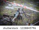 machine gun on military firing | Shutterstock . vector #1228845796