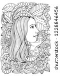 beautiful woman and flowers.... | Shutterstock .eps vector #1228846456