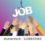 job on a hook. hands reaching... | Shutterstock .eps vector #1228852483