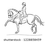 Stock vector a dressage rider on a big mover horse 1228858459