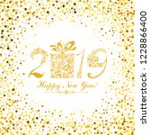 happy new year 2019  vintage... | Shutterstock . vector #1228866400