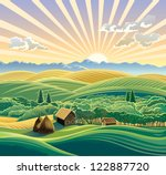 rural landscape with a hut. | Shutterstock .eps vector #122887720