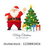 merry christmas card. cartoon... | Shutterstock .eps vector #1228881826