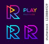 abstract letter r multimedia... | Shutterstock .eps vector #1228884529