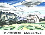a view from the hill to the... | Shutterstock . vector #1228887526