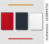 notebook isolated with pencils... | Shutterstock . vector #1228894723