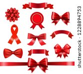 red ribbon bow set  | Shutterstock . vector #1228894753