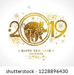 golden symbol pig 2019 in the... | Shutterstock .eps vector #1228896430