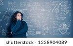 young woman solving math... | Shutterstock . vector #1228904089