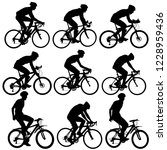 set silhouette of a cyclist... | Shutterstock .eps vector #1228959436