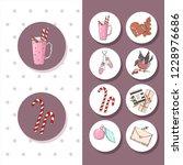 merry christmas stickers   Shutterstock .eps vector #1228976686