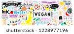 doodle food banner. vegan...   Shutterstock .eps vector #1228977196