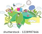 leaf of children playing   Shutterstock .eps vector #1228987666