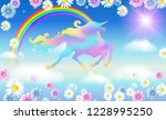 rainbow in the clouds sky and... | Shutterstock .eps vector #1228995250