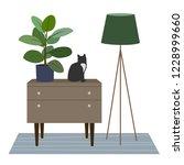 living room with carpet  lamp ... | Shutterstock .eps vector #1228999660