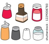 vector set of condiment bottles | Shutterstock .eps vector #1229008783