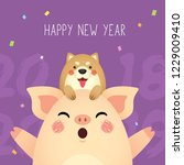 happy new year 2019 greeting... | Shutterstock .eps vector #1229009410
