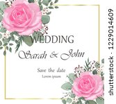 wedding invitation leaves and... | Shutterstock .eps vector #1229014609