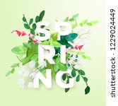 floral spring design with white ... | Shutterstock .eps vector #1229024449
