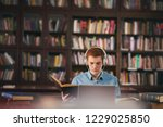 young male student study in the ... | Shutterstock . vector #1229025850