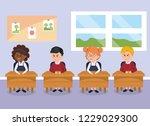 student children with school... | Shutterstock .eps vector #1229029300